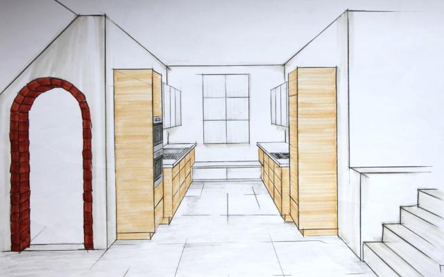 moderne, grifflose U-Küche