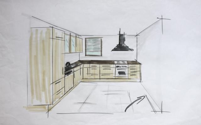 Skizze einer L-Küche